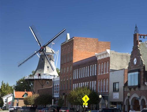 Scenery of retirement city with large windmill